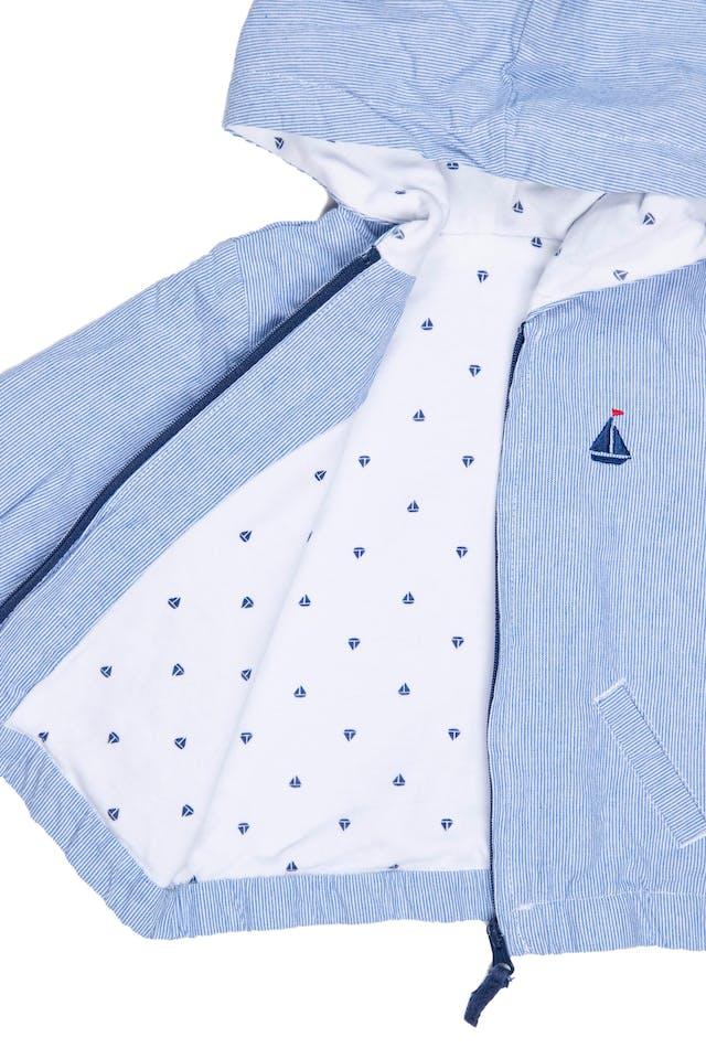 Casaca a rayas 100% algodón, forrada con tela de barquitos, cintura elástica. Talla 6 en etiqueta. Tiene una manchita a la altura del cierre - Sin Marca foto 2