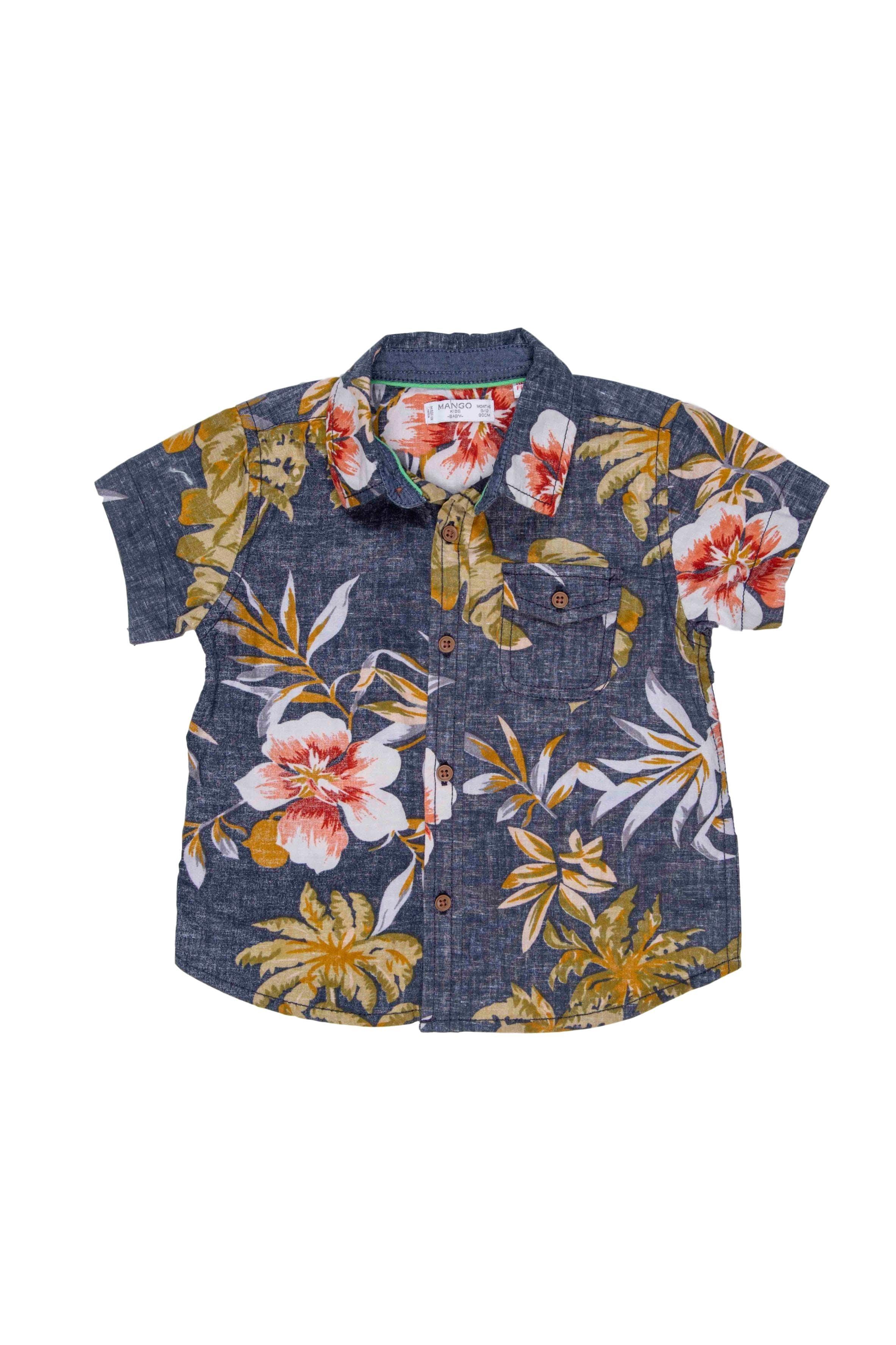 Camisa floreada manga corta, 100% algodón, con bolsillo - Mango