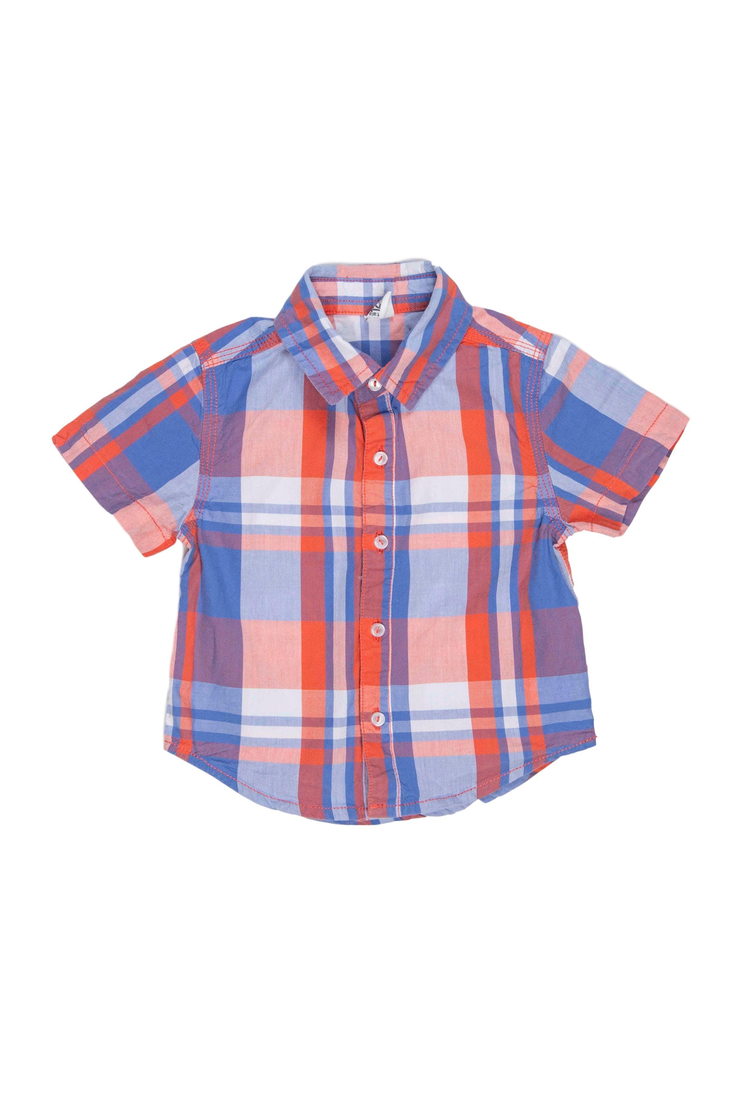 Camisa manga corta cuadros azul y anaranjados, 100% algodón - Yamp
