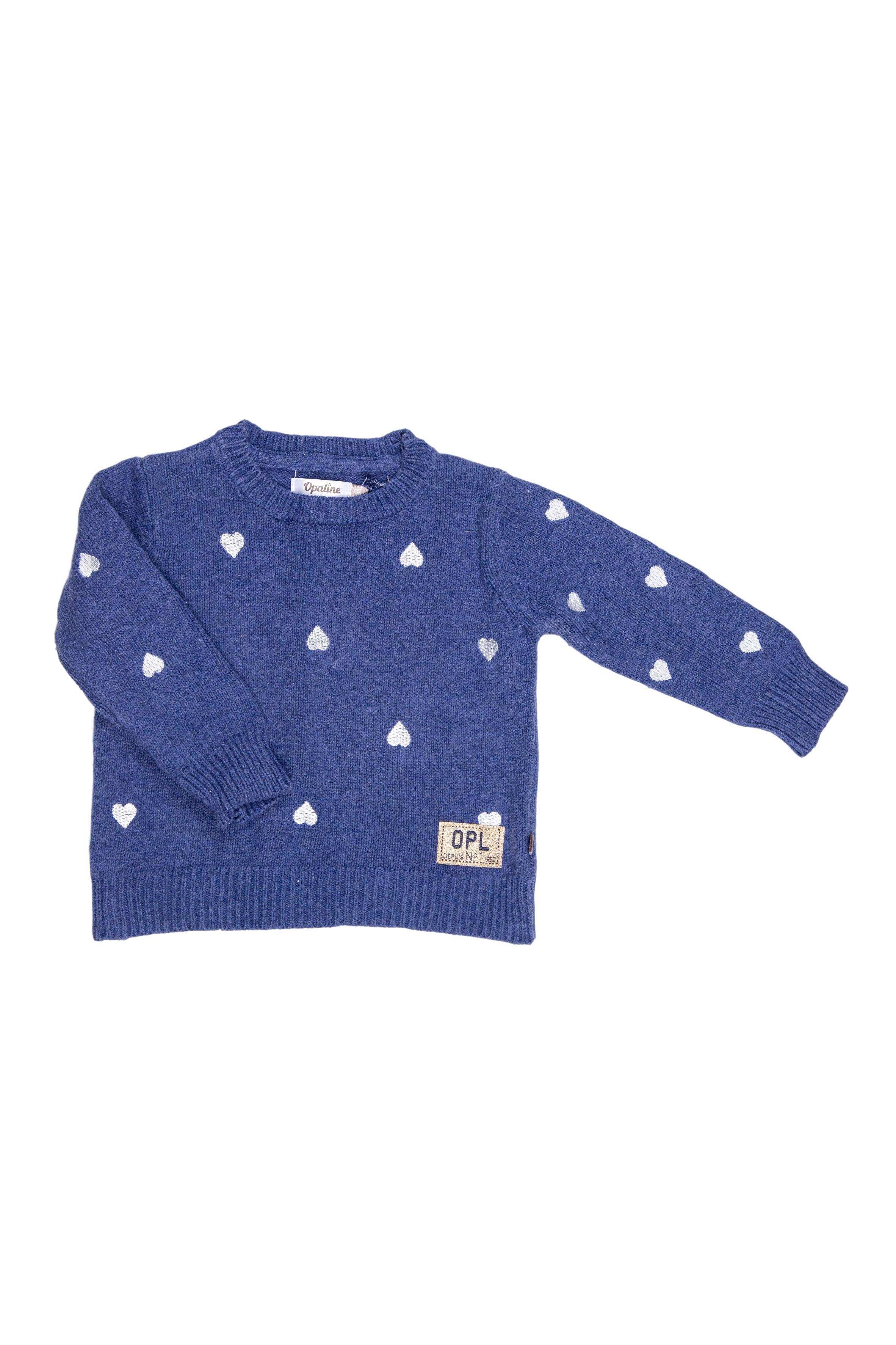 Chompa azul con bordado de corazones 100% algodón - Opaline