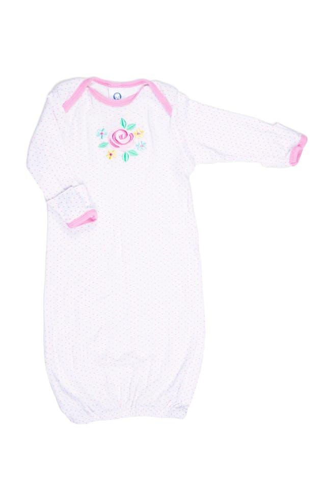 Pijama blanco con manoplas de puntos rosas y flor, 100% algodón - Gerber foto 1