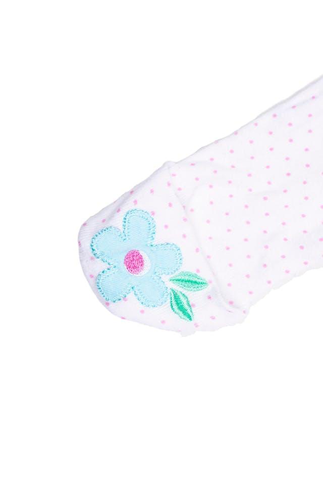 Pijama blanco con manoplas de puntos rosas y flor, 100% algodón - Gerber foto 2