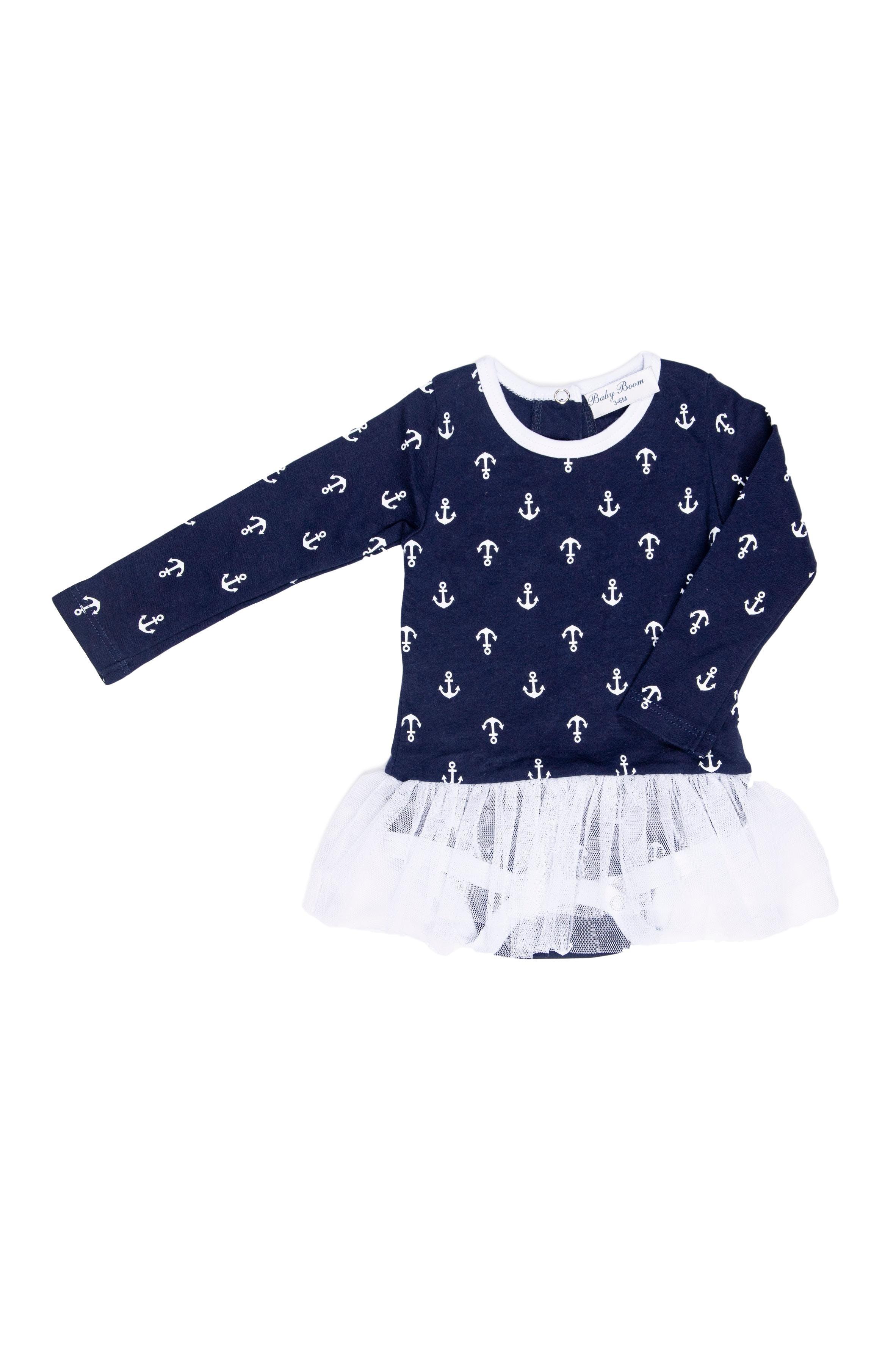 Vestido - body azul con anclas blancas - Baby Boom