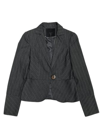 Blazer Basement tela tipo sastre gris con líneas al tono, forrado, de un solo botón foto 1