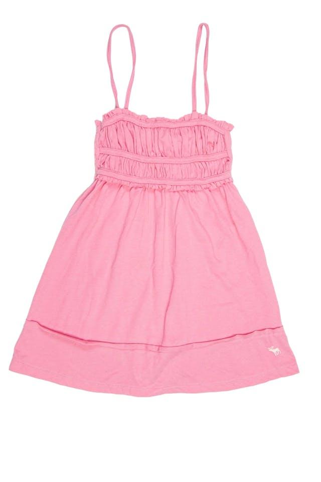 dice talla M en etiqueta, top de tiritas, panal de abeja y drapeado en el pecho rosado. - Abercrombie foto 1