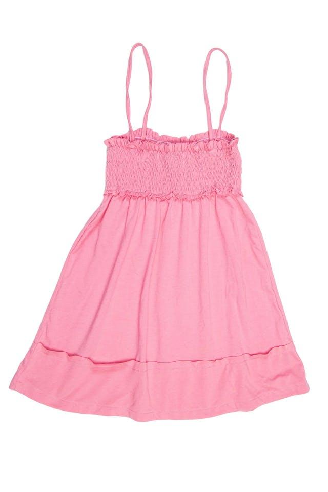 dice talla M en etiqueta, top de tiritas, panal de abeja y drapeado en el pecho rosado. - Abercrombie foto 2
