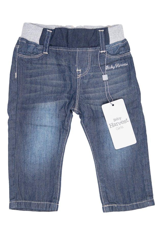 Pantalón simil jean de tela 100% algodón, cintura de rib elástico - Harvest foto 1