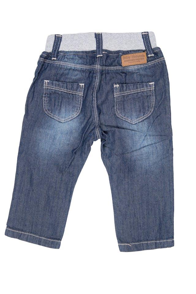 Pantalón simil jean de tela 100% algodón, cintura de rib elástico - Harvest foto 2