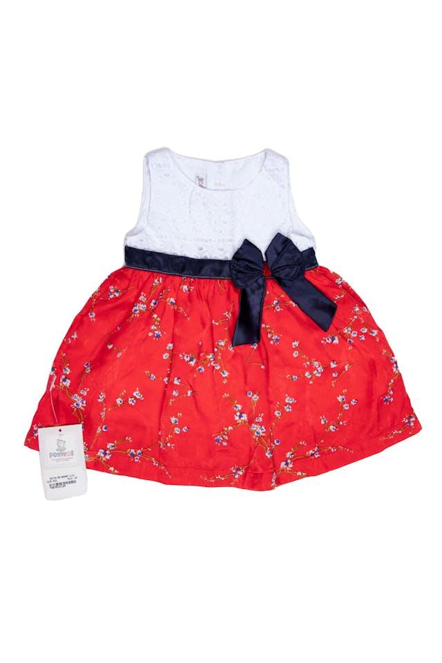 Vestido pecho con encaje blanco, falda roja con flores, liston azul, forrado. Viene con calzón en juego - Potitos foto 1