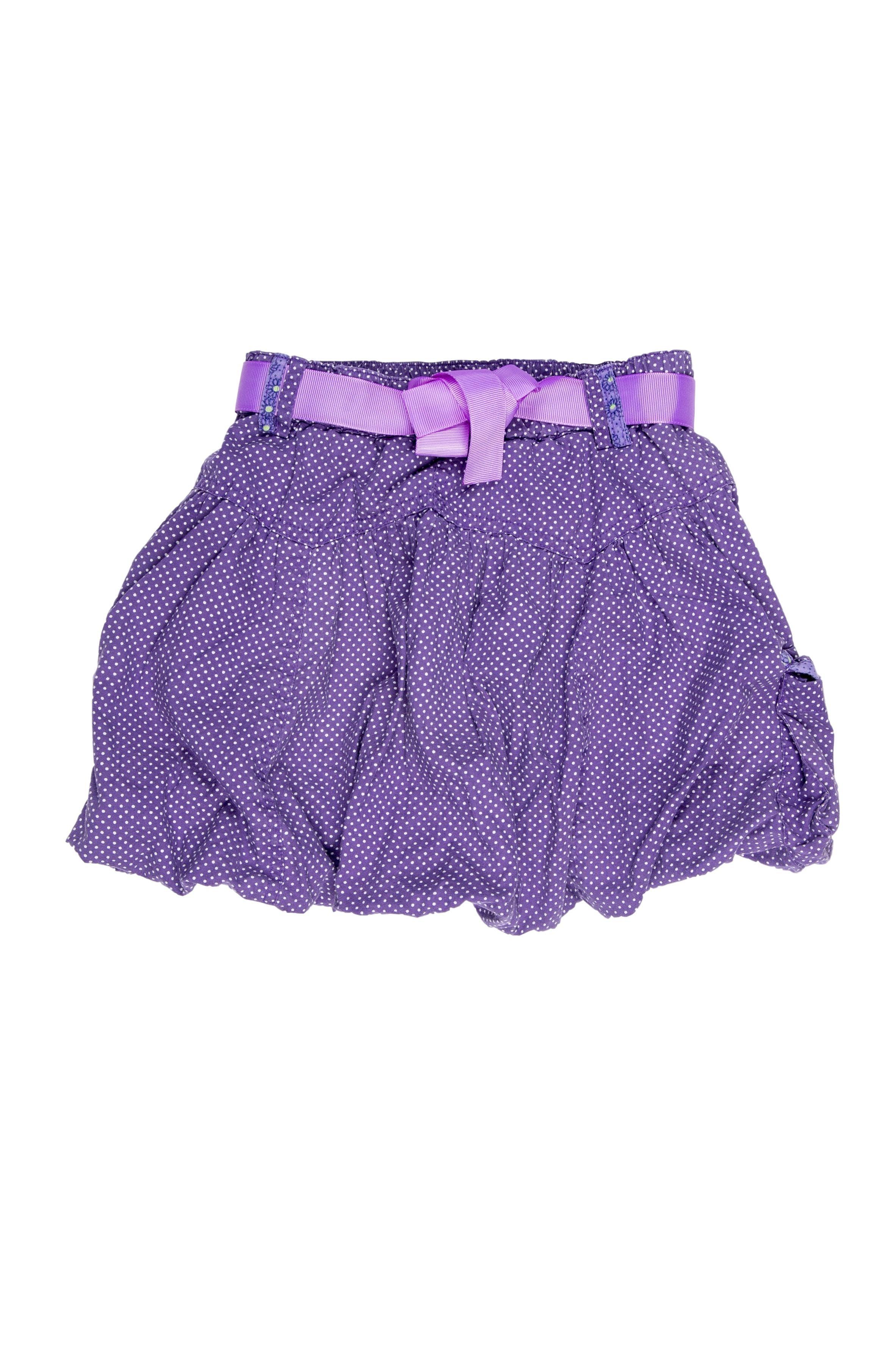 Falda morada globo con bolsilos 100% algodón, forrada. Talla en etiqueta 5T (110 europea). Precio original S/ 160 - Minymo