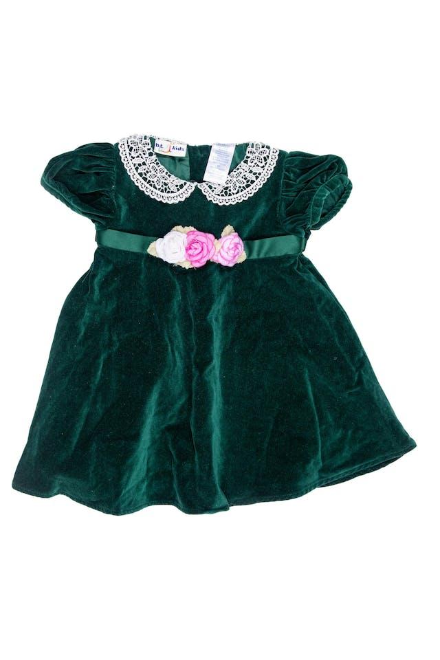 Vestido vintage de terciopelo delgado verde, cuello de gipiur y  con flores cintura - B.t. Kids foto 1