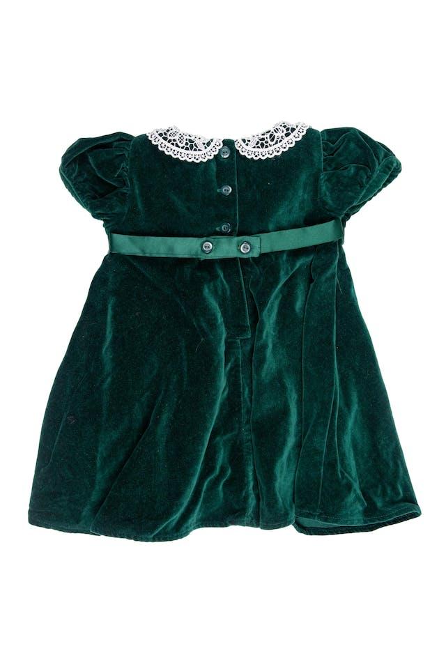 Vestido vintage de terciopelo delgado verde, cuello de gipiur y  con flores cintura - B.t. Kids foto 2