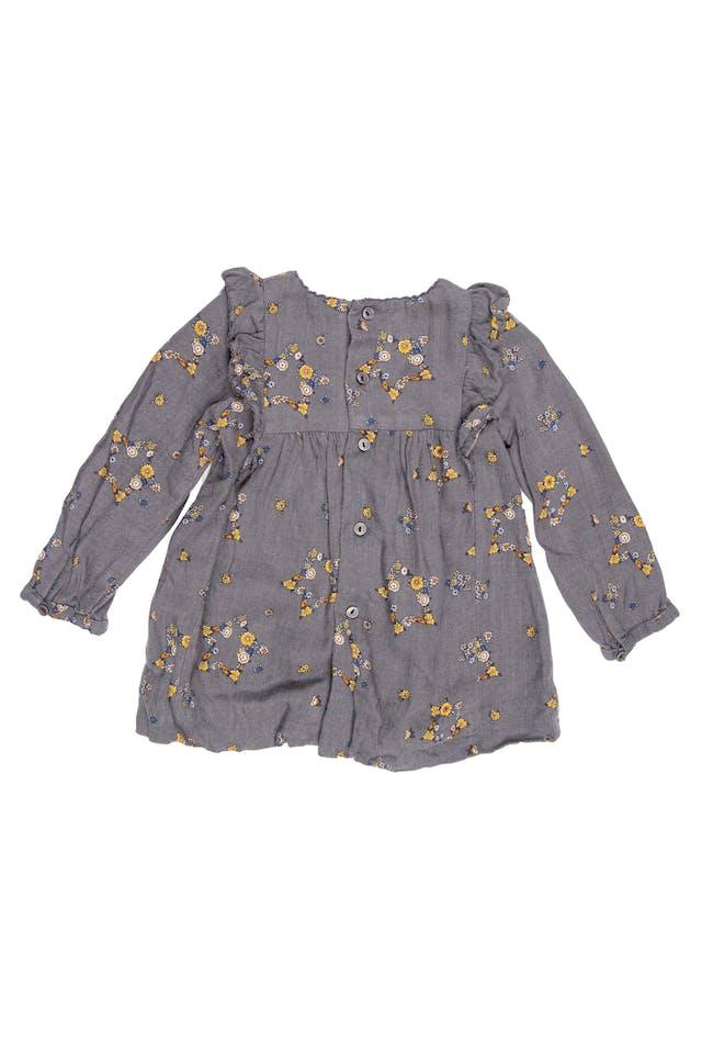 Vestido floreado gris 100% algodón foto 2