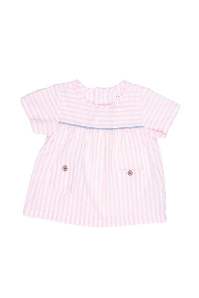Blusa a rayas rosada y blanca con bolsillas 100% algodón - Carter's foto 1