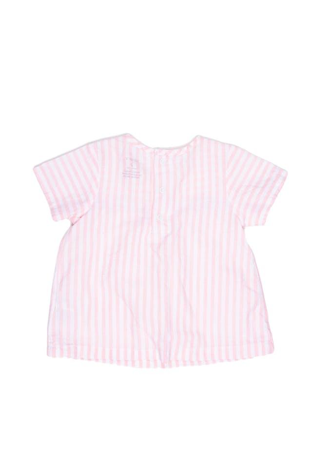 Blusa a rayas rosada y blanca con bolsillas 100% algodón - Carter's foto 2