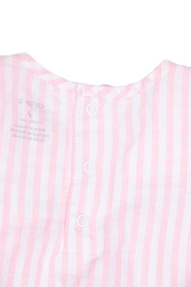 Blusa a rayas rosada y blanca con bolsillas 100% algodón - Carter's foto 3