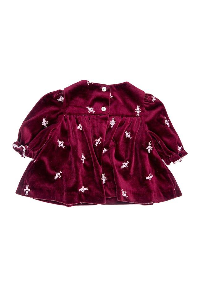 Vestido vintage de terciopelo grueso pero suave, guinda, con bordados de florecitas, elástico en puños y blondas - Lillle Bitty foto 2