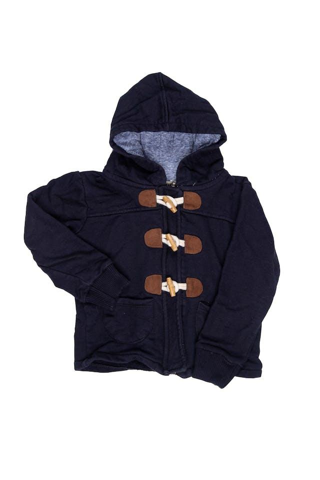 casaca azul tipo buzo con cierre y botones. Capucha forrada. - Horus Kids foto 1