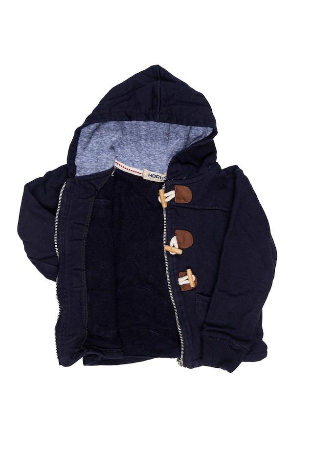 casaca azul tipo buzo con cierre y botones. Capucha forrada. - Horus Kids foto 2