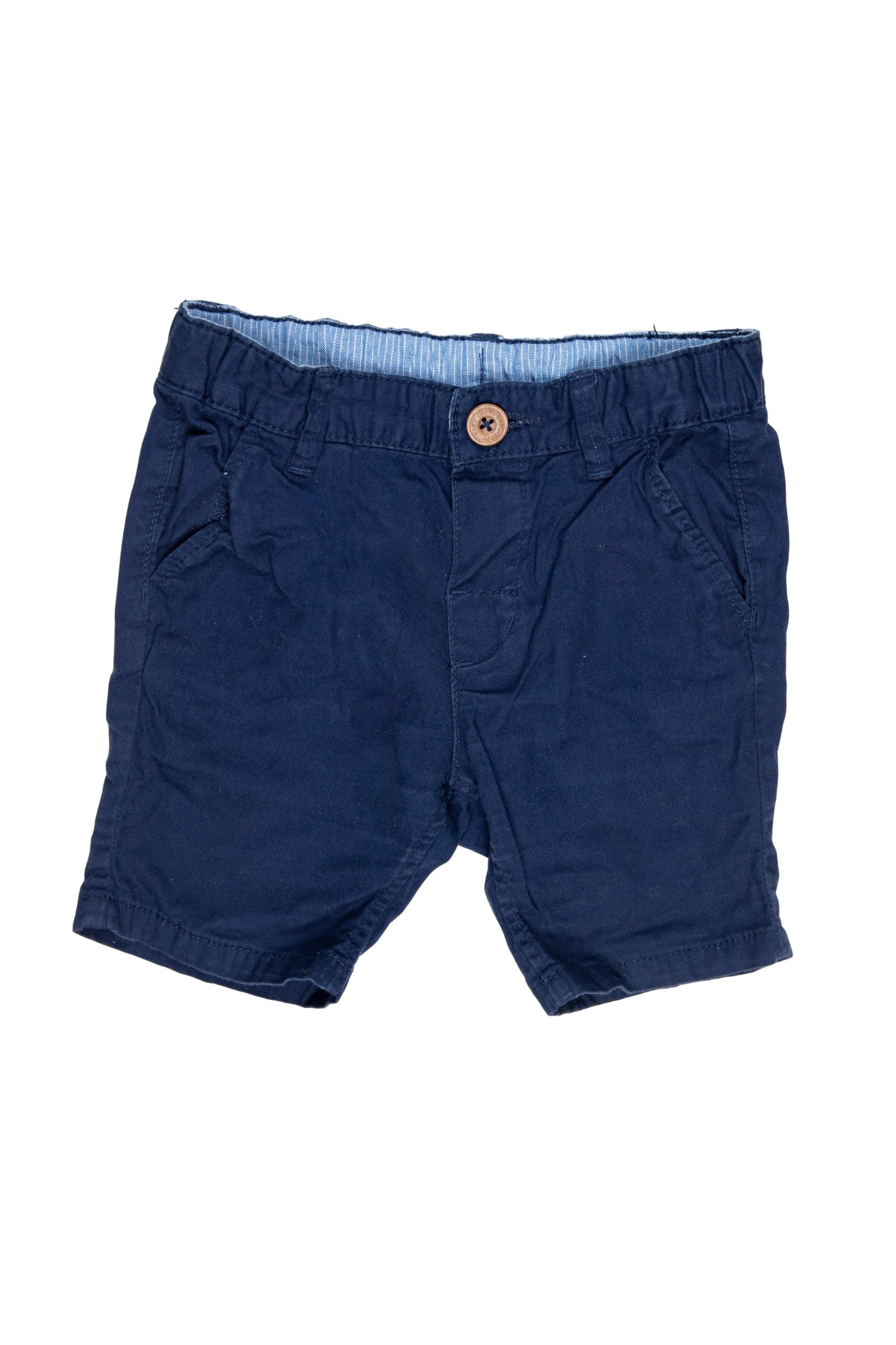 short azul largo con botón y bolsillos100% algodón - H & M