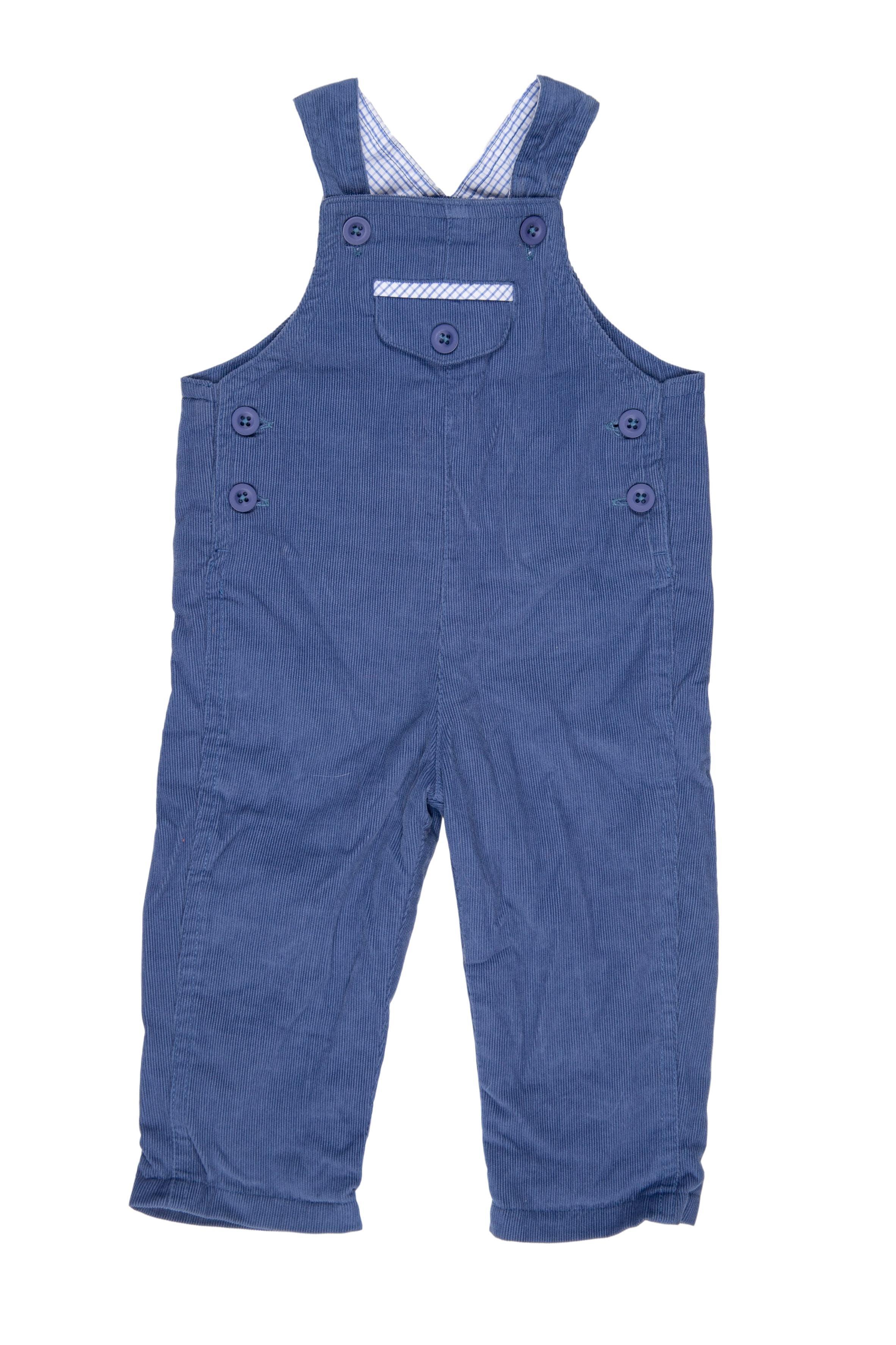 Oberol de corduroy azul tiras regulables, forrado, muy suave y 100% algodón - Baby Club Chic