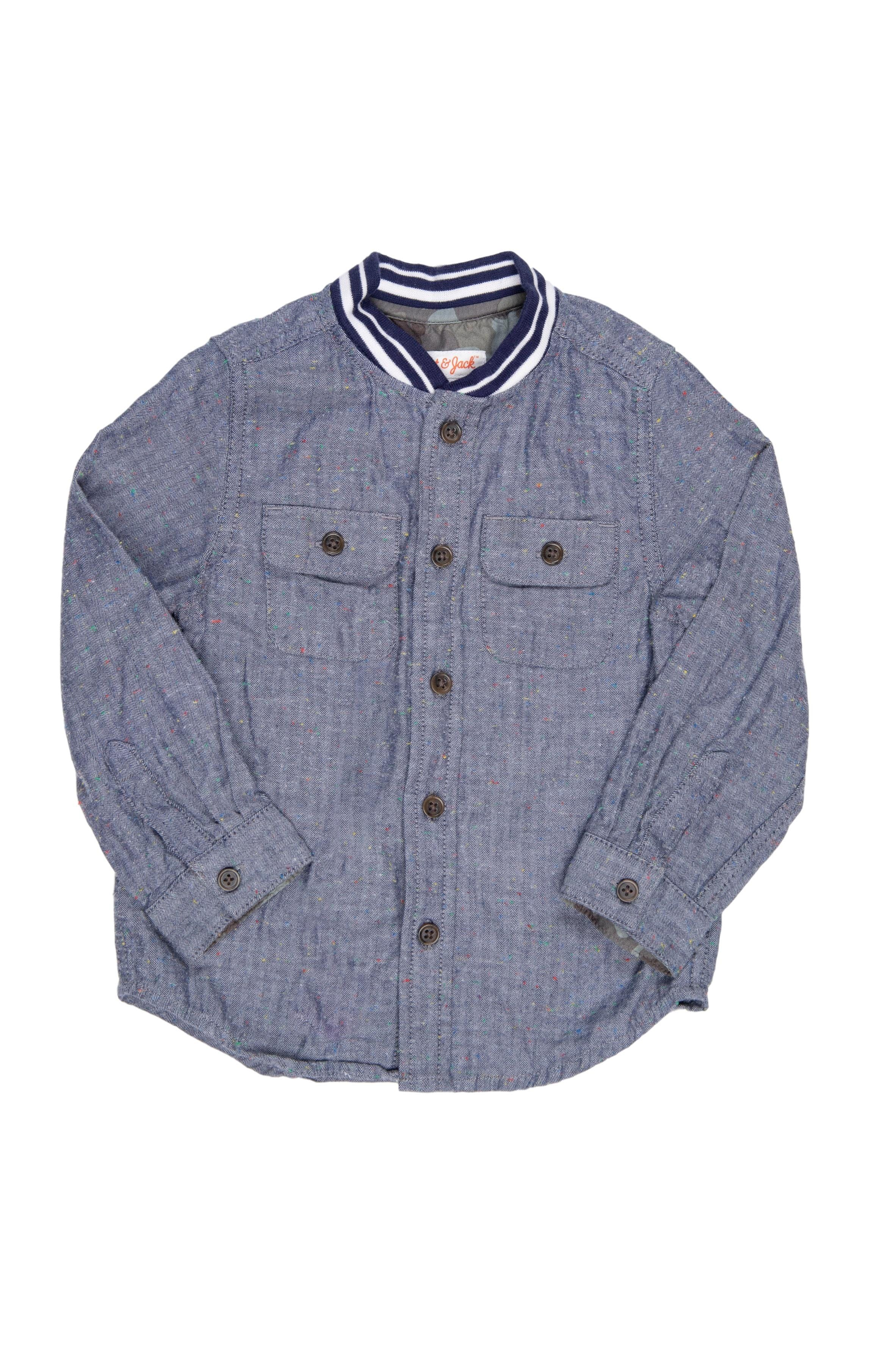 camisa manga larga con cuello rayado, 99% algodón - Cat & Jack