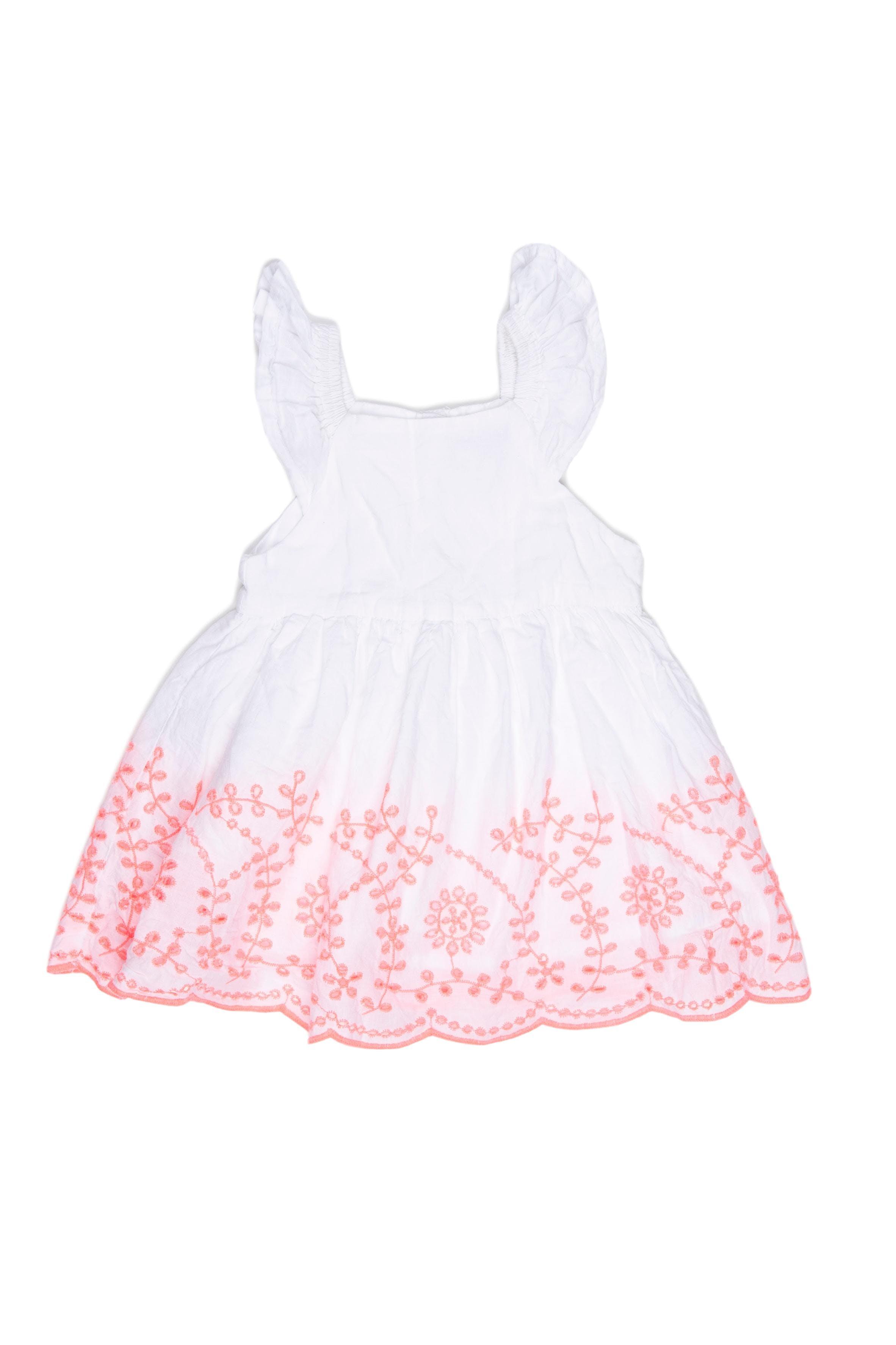 Vestido blanco con elástico en los hombros, forrado, broderie neon en la falda. 100% algodón. Talla ^M en etiqueta puede dar hasta 12 M - Cherokee