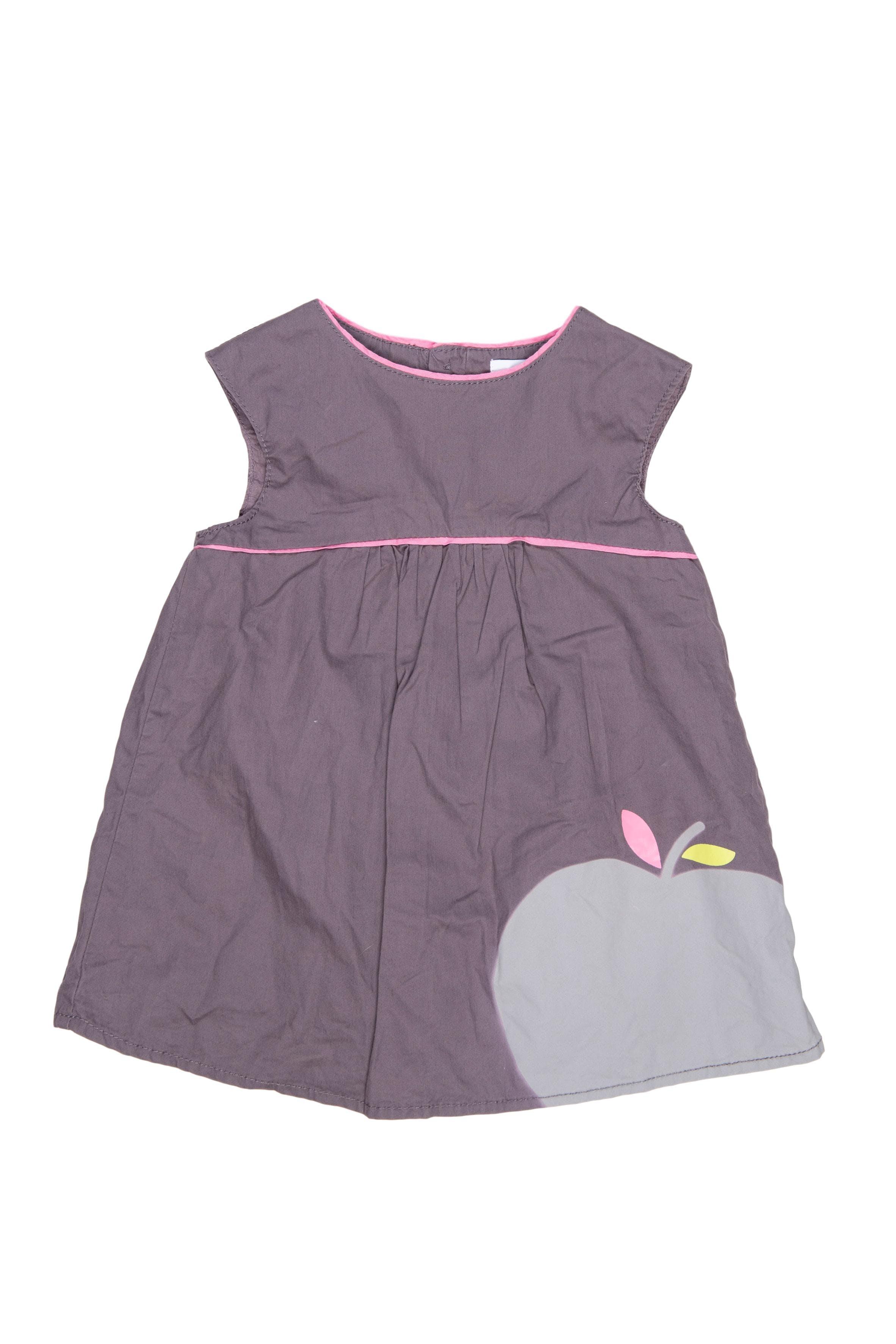 Vestido color gris estampado de manzana, con forro - Obaibi
