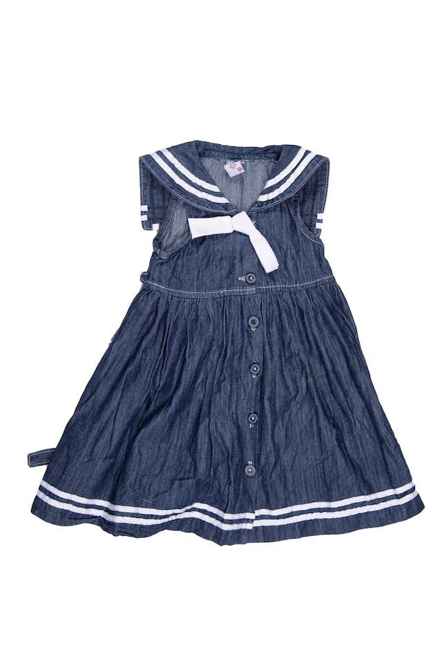 Vestido de Jean delgado, manga cero y cuello marinero 100% algodón. Talla en etiqueta 2T - Kukuli foto 1