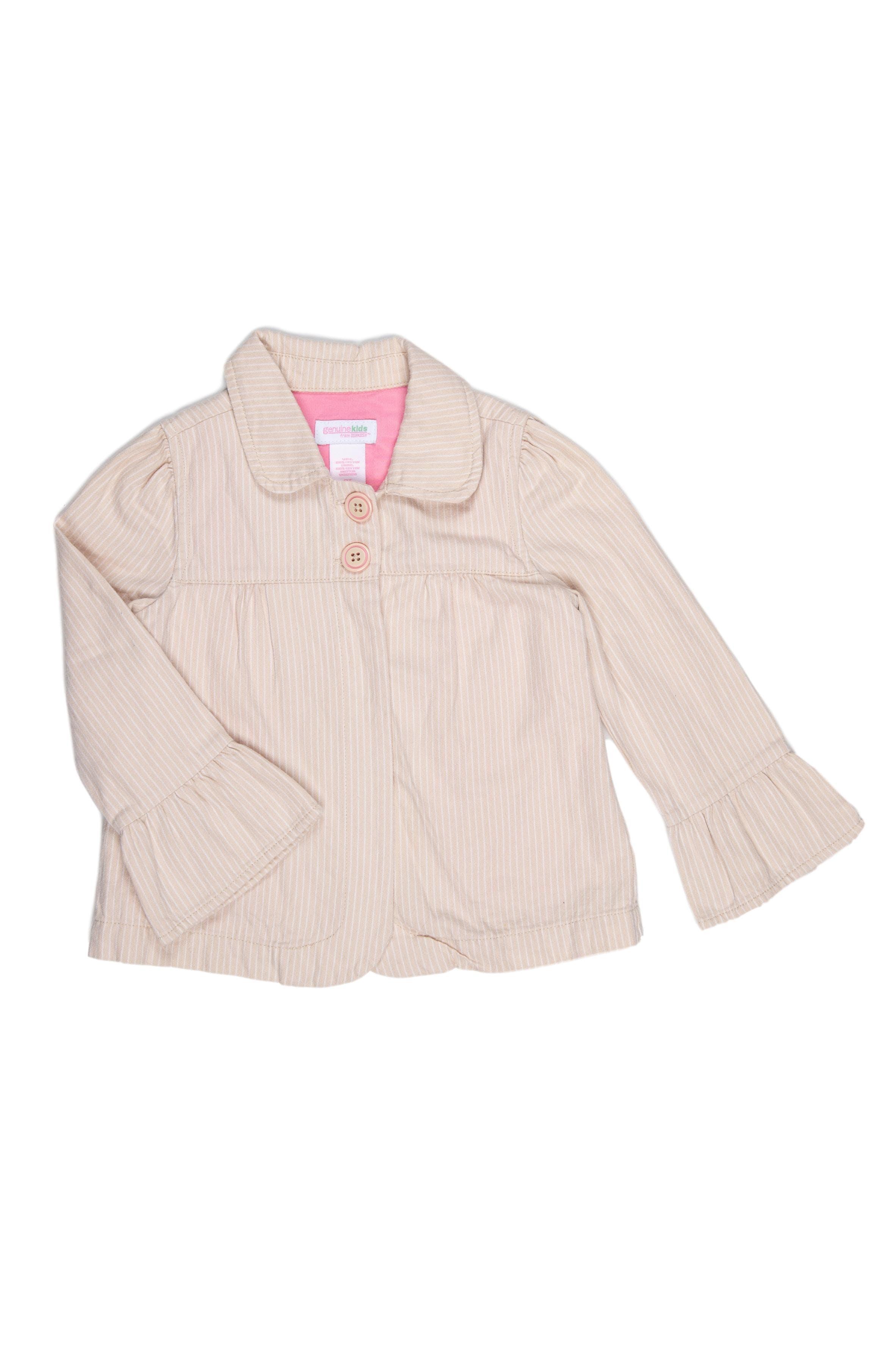 Saco de tela color beige claro con rallas blancas, forrado, con puño ancho. 100% algodón. Talla en etiqueta 3T - Genuine Kids
