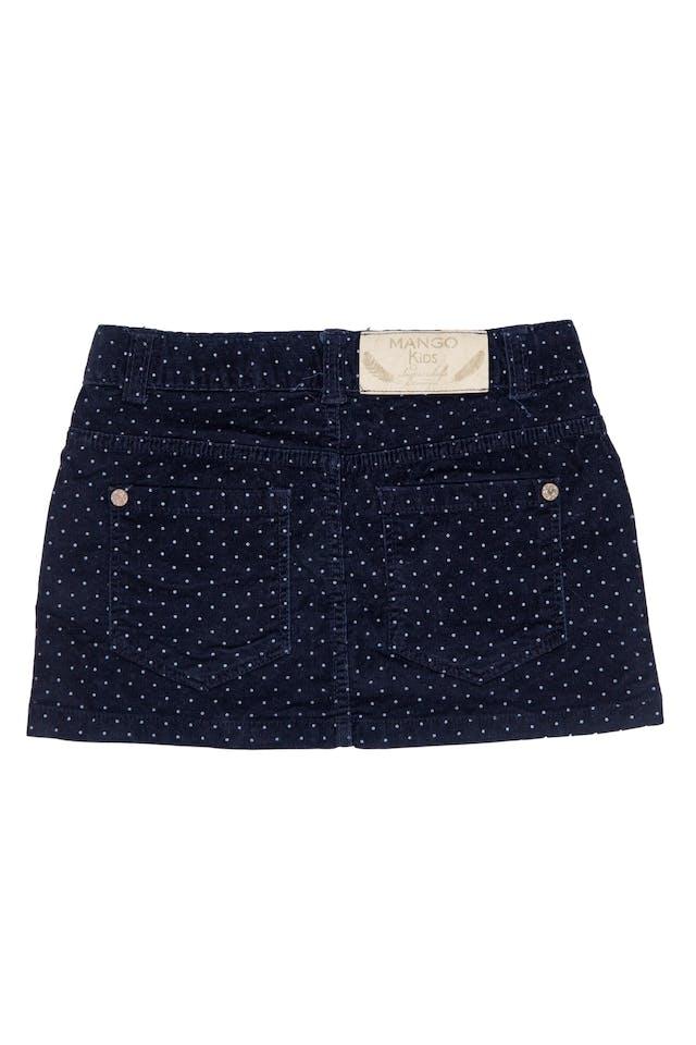 Mini falda de corduroy azul marino con puntos blancos, 98% algodón, 2% elastane, talla en etiqueta 3 - 4 años - Mango foto 2