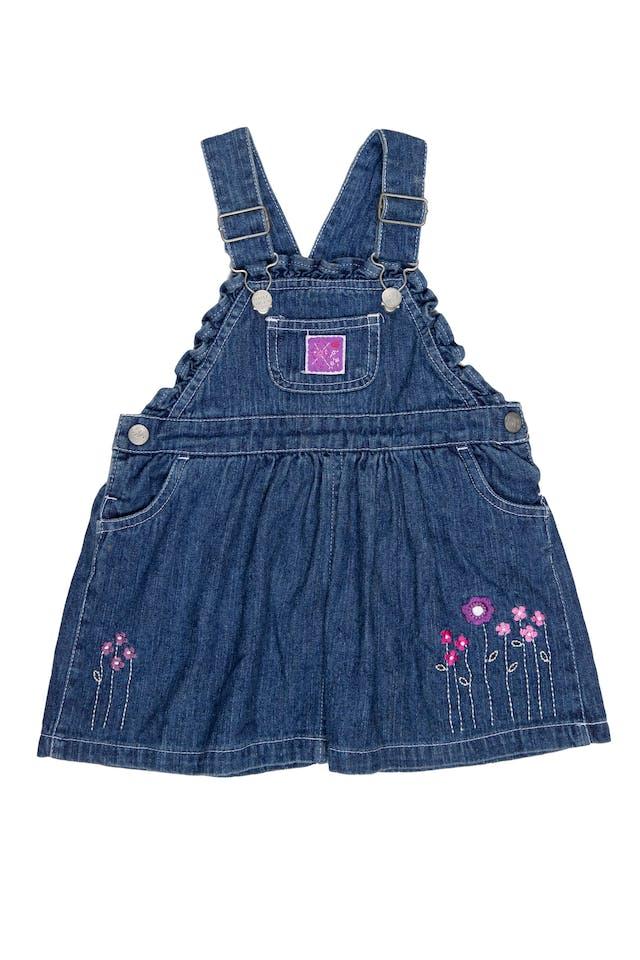 Vestido oberol de Jean, con tirantes ajustables con bolsillos adelante y atrás 100% algodón - Baby Just U foto 1