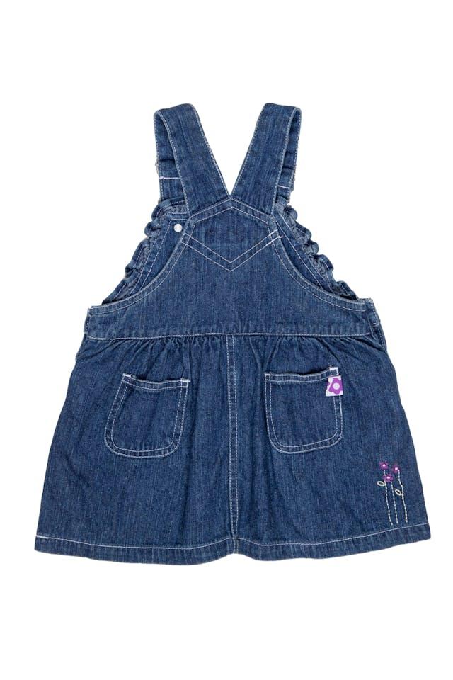 Vestido oberol de Jean, con tirantes ajustables con bolsillos adelante y atrás 100% algodón - Baby Just U foto 2