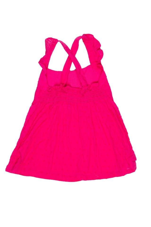 Blusa color fucsia con tiritas cruzadas, elástico en la espalda 100% algodón. Talla en etiqueta 3T - Penny M foto 2
