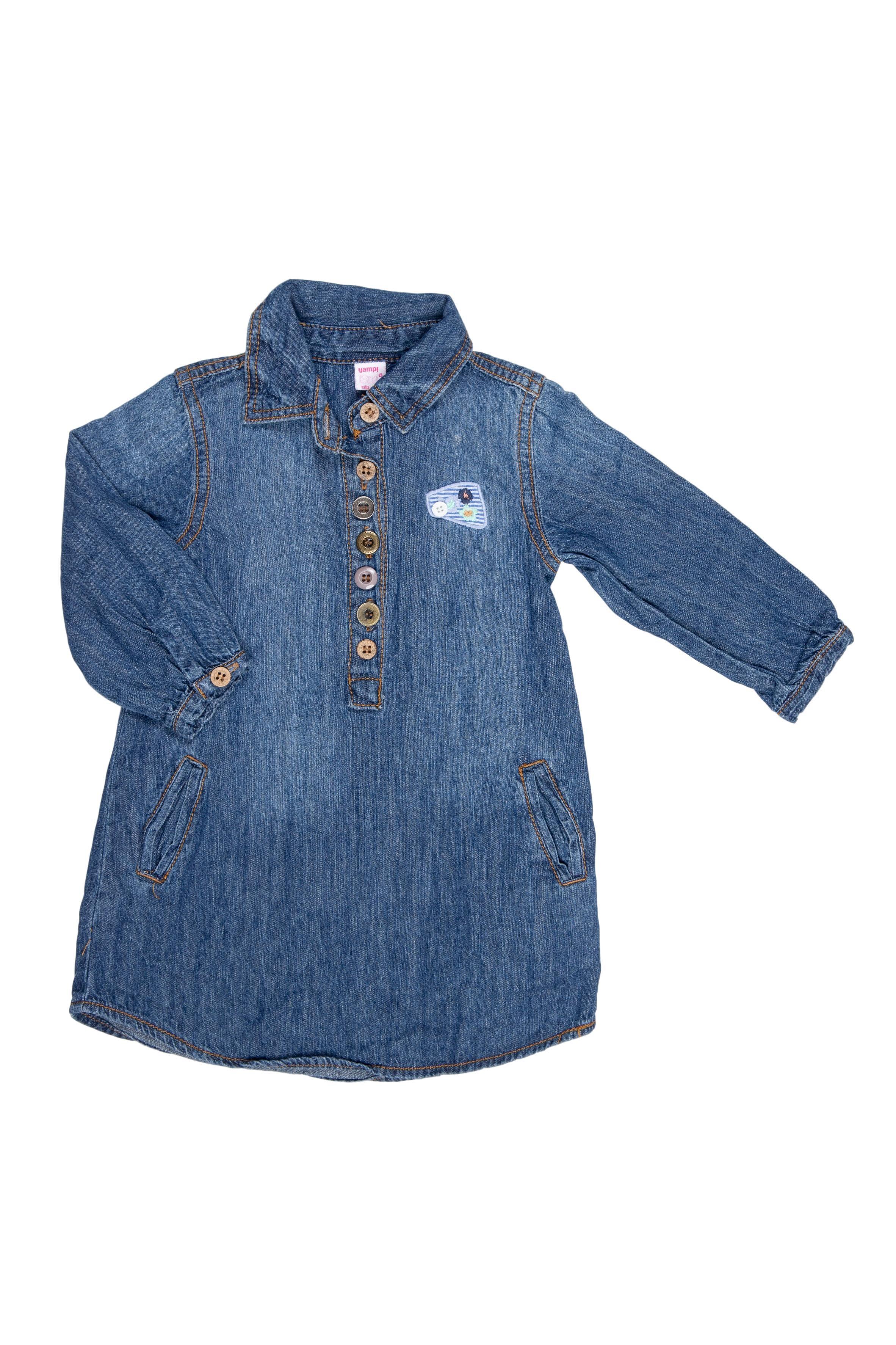 Vestido camiserp de jean delgado,camisero manga larga y bolsillos laterales 100% algodón - Yamp