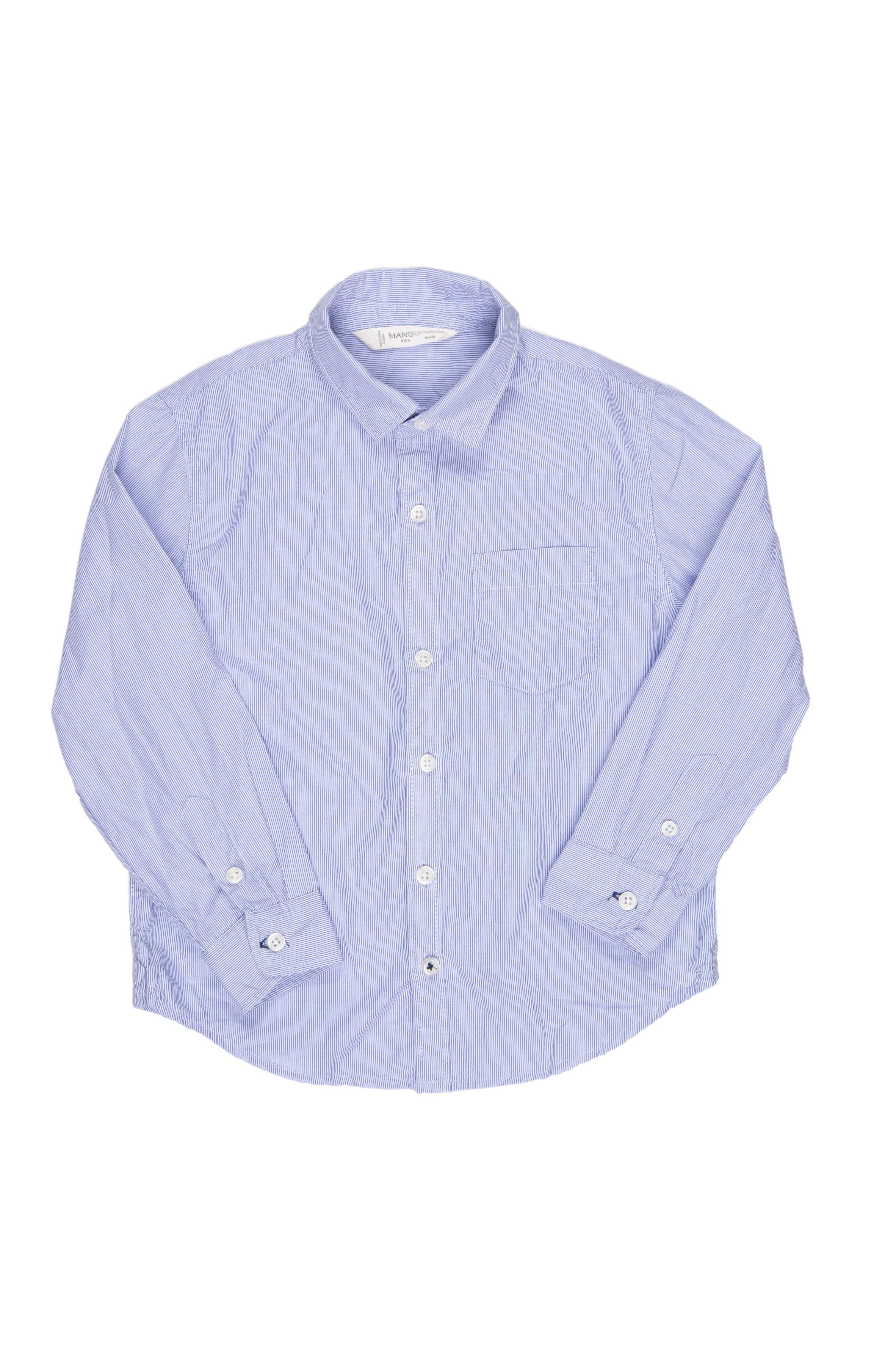 Camisa de rayas delgaditas azules en fondo blanco, una sola puesta. Talla en etiqueta: 3 - 4 años. 100% algodón - Mango