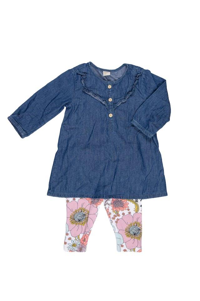 Blusa jean manga larga con legging floreada 100% algodón. Blusa como nueva, legging 9/10 - Yamp! foto 1