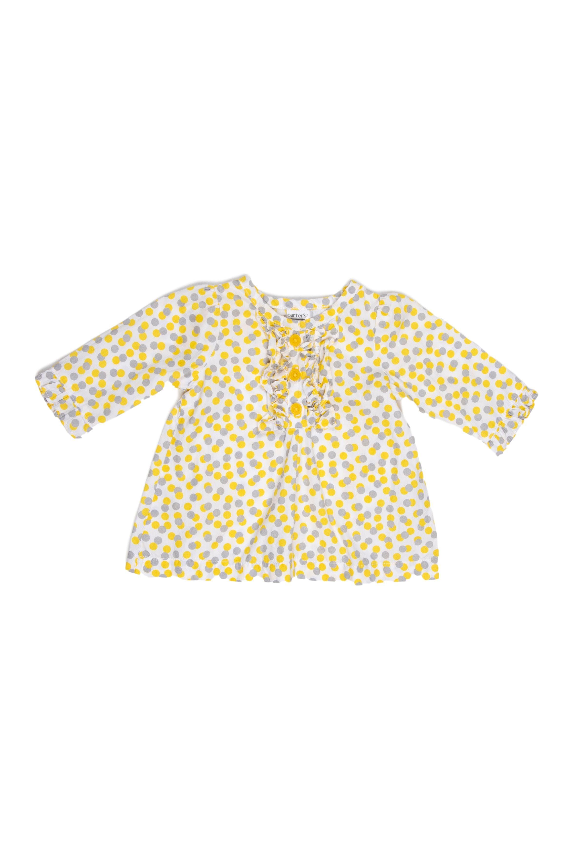 Blusa amarilla con puntos grises 100% algodón - Carter's