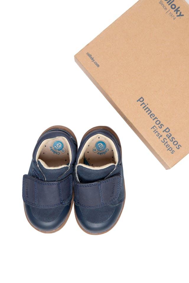 Zapatos de cuero primeros pasos azules con velcro. talla 3.5 americana, 20 europea - Colloky foto 1