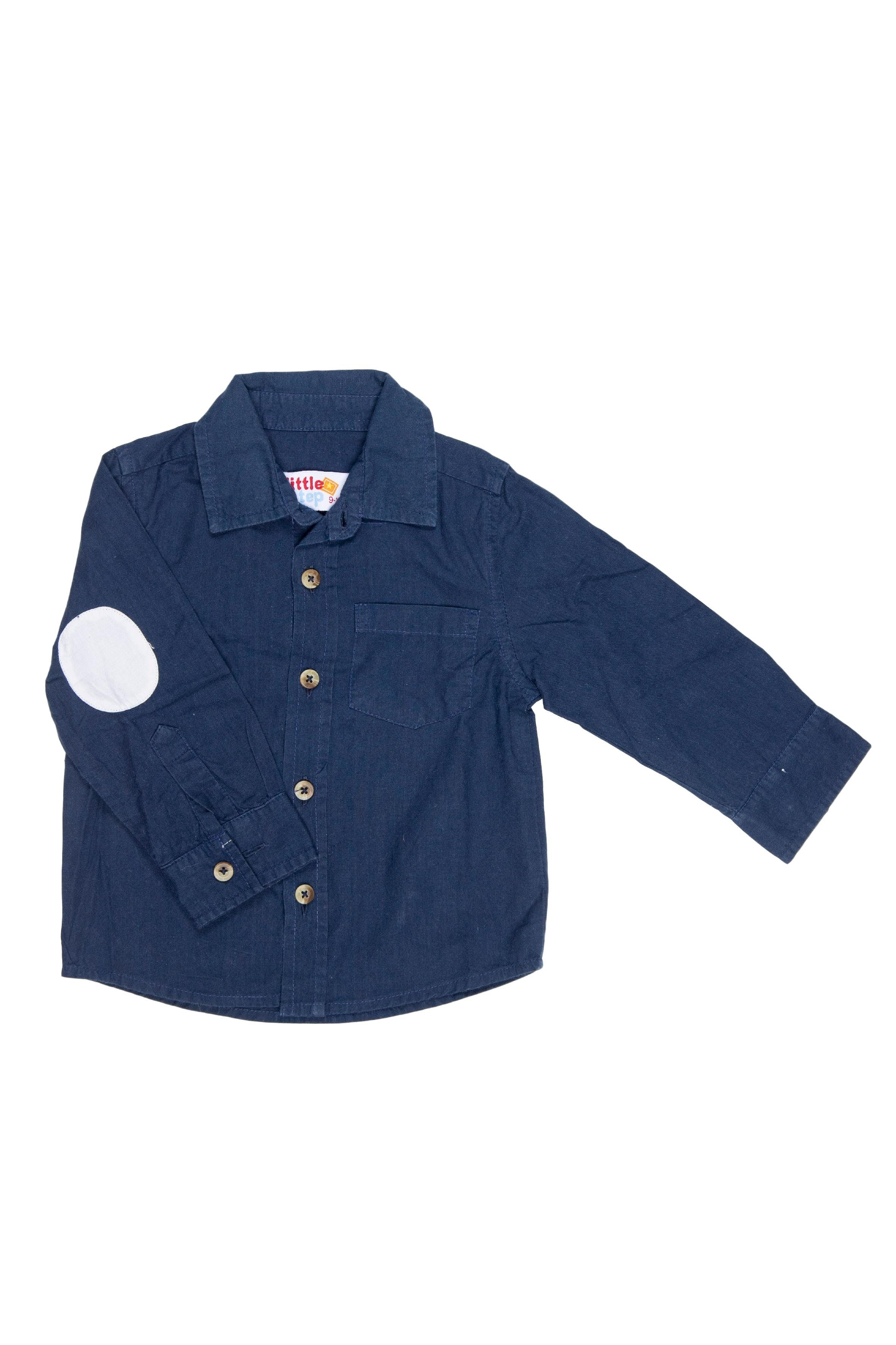 Camisa azul manga larga con coderas 100% algodón. talla en etiqueta: 9 - 12 pero esta marca hace tallas chicas, ponemos desde 6 meses por que calza con medidas estandar - Little Step