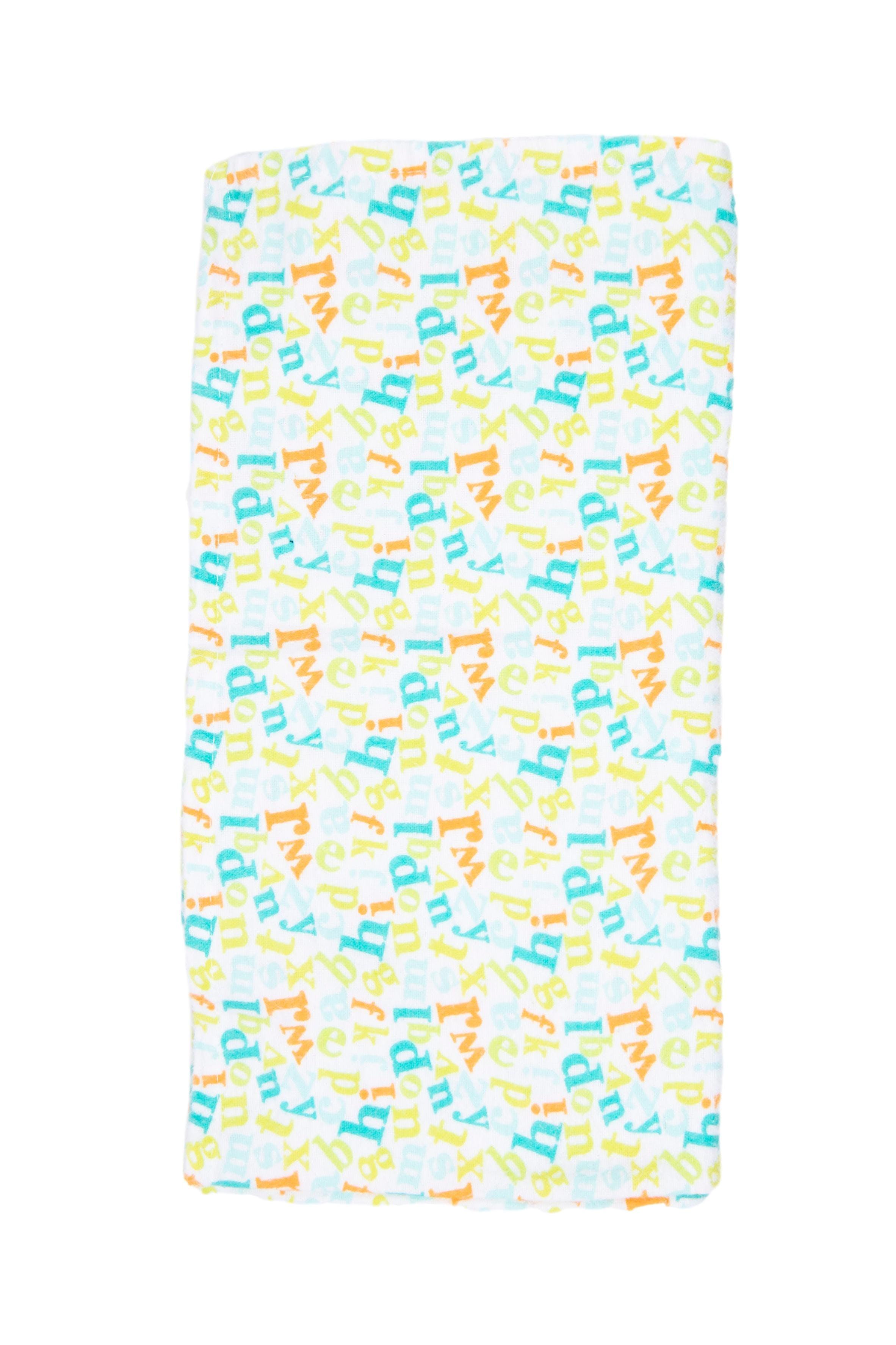 Manta franela algodon con letras de colores 70x70 - Honey Bunny