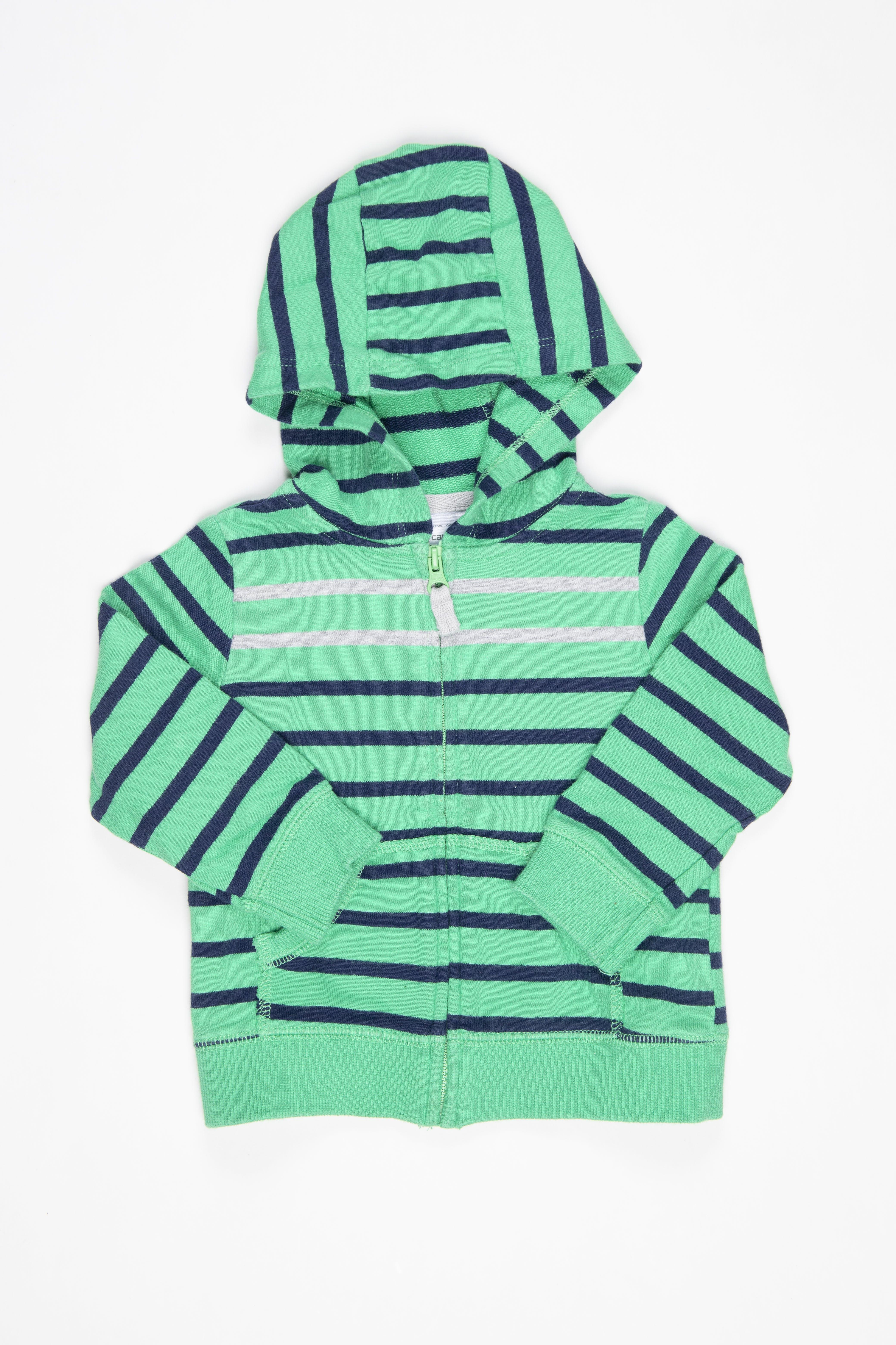 Casaca verde rayas azules y grises con capucha - Carter's