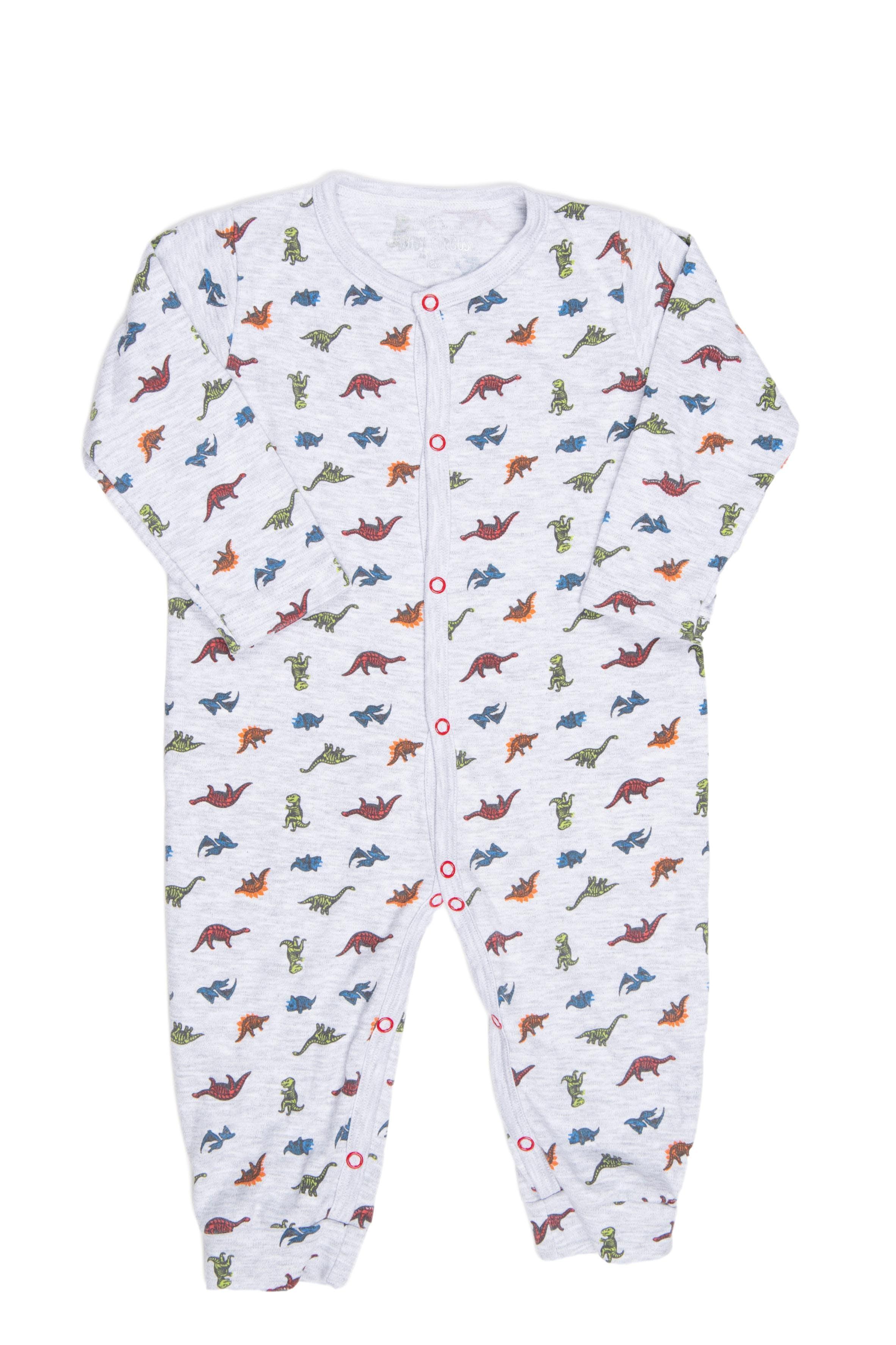 Enterizo sin pie gris con dinosaurios de colores, 100% algodón - Circus