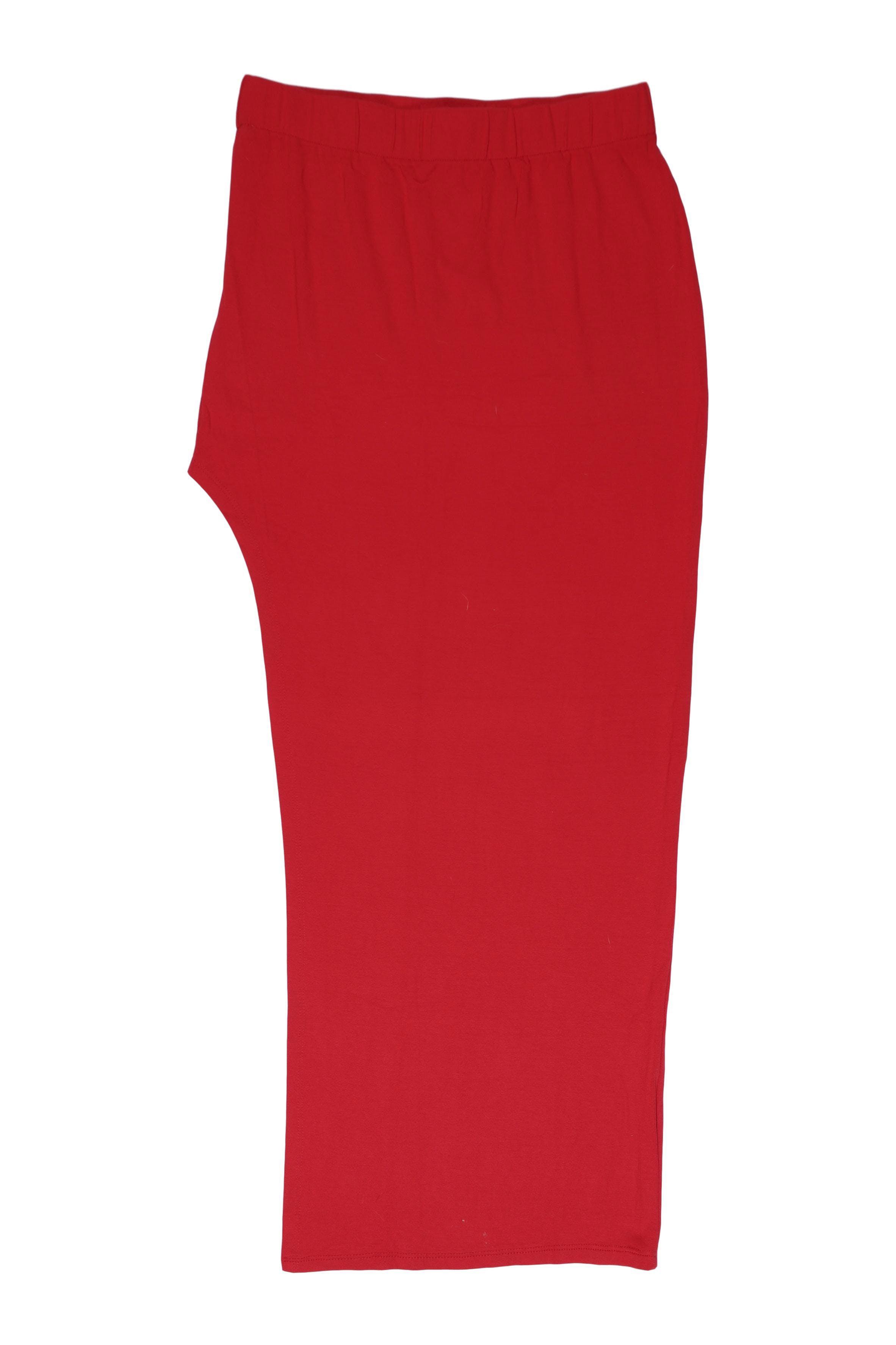 Falda larga roja tipo algodón stretch, asimétrica con abertura lateral