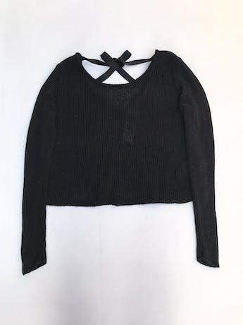 Chompa H&M negra tejida de algodón y viscosa, escote en la espalda con lazo  foto 1