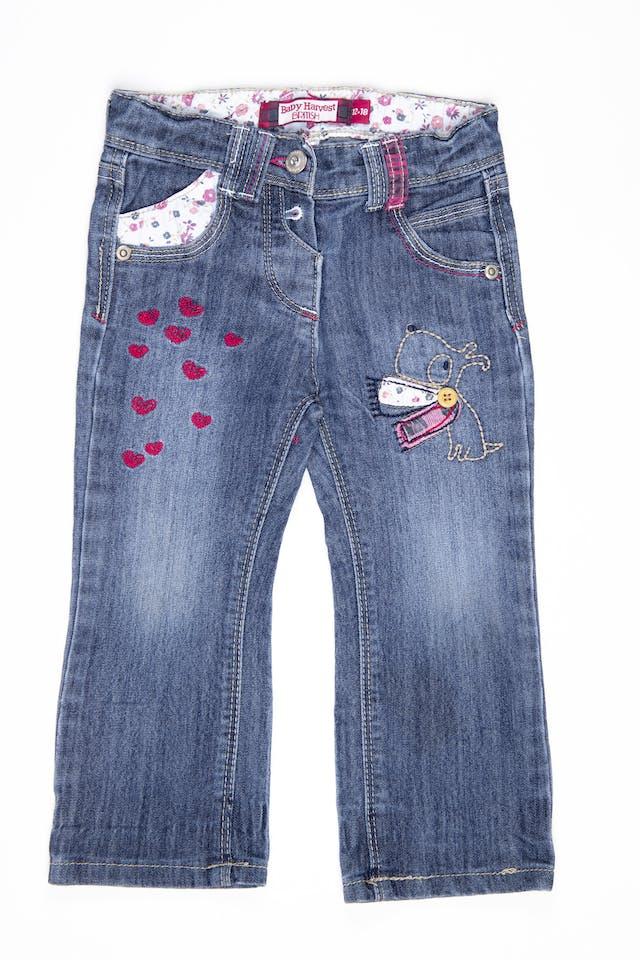 Jean con bordado y corazones cintura regulable - Harvest foto 1