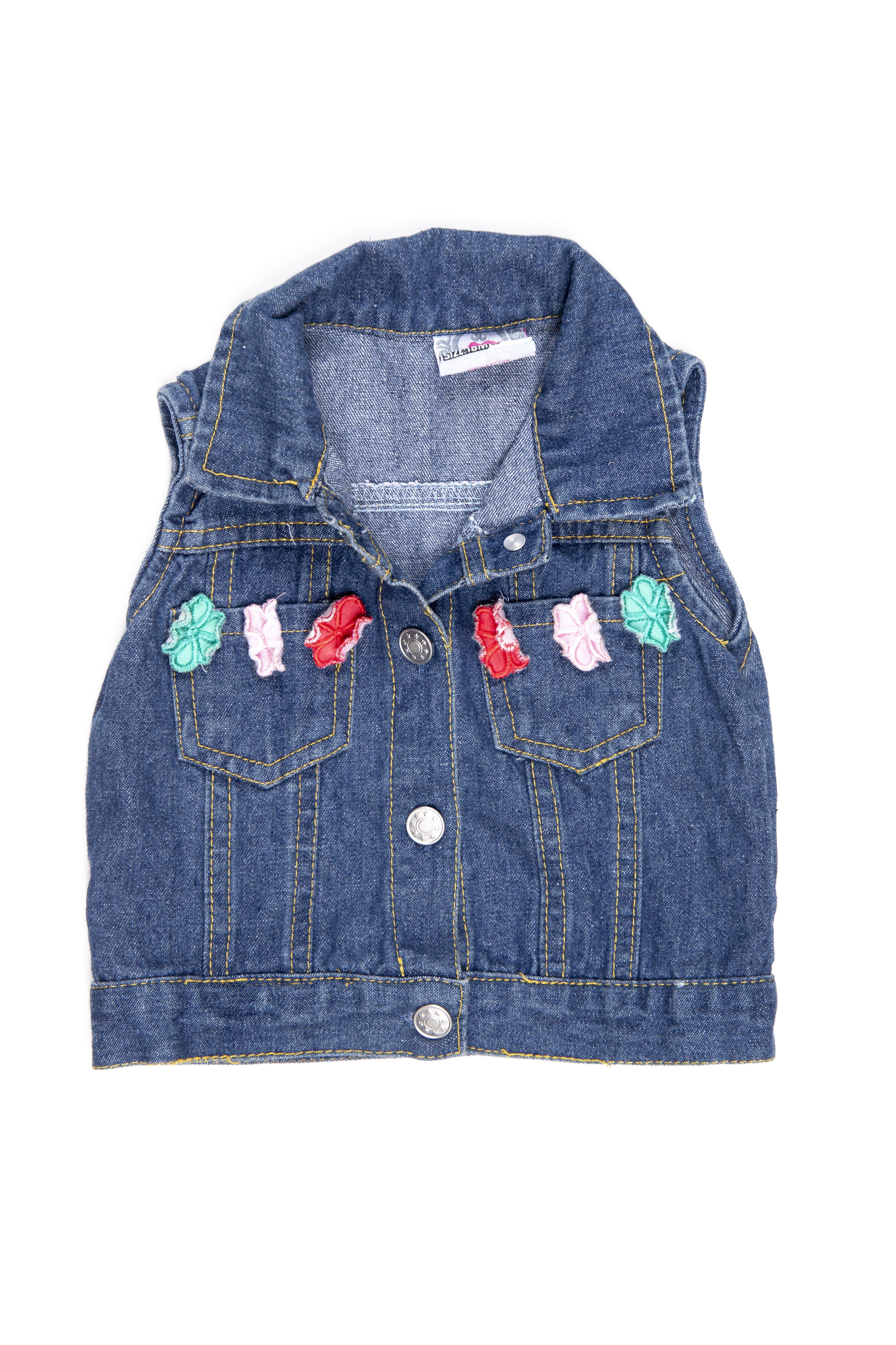 chaleco jean con aplicaciones de flores 100% algodón - real love