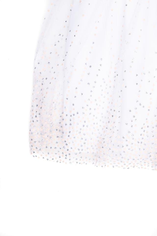 vestido de fiesta melon con tul blanco con estampado plateado y melón - mia & mimi foto 2