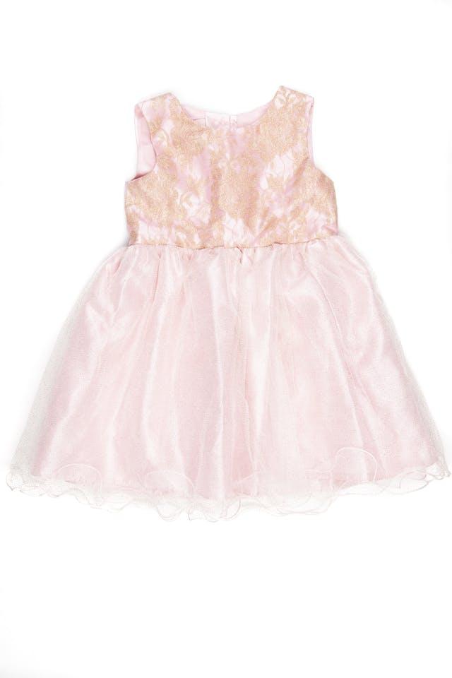 vestido de fiesta rosado con dorado - emma rose foto 1