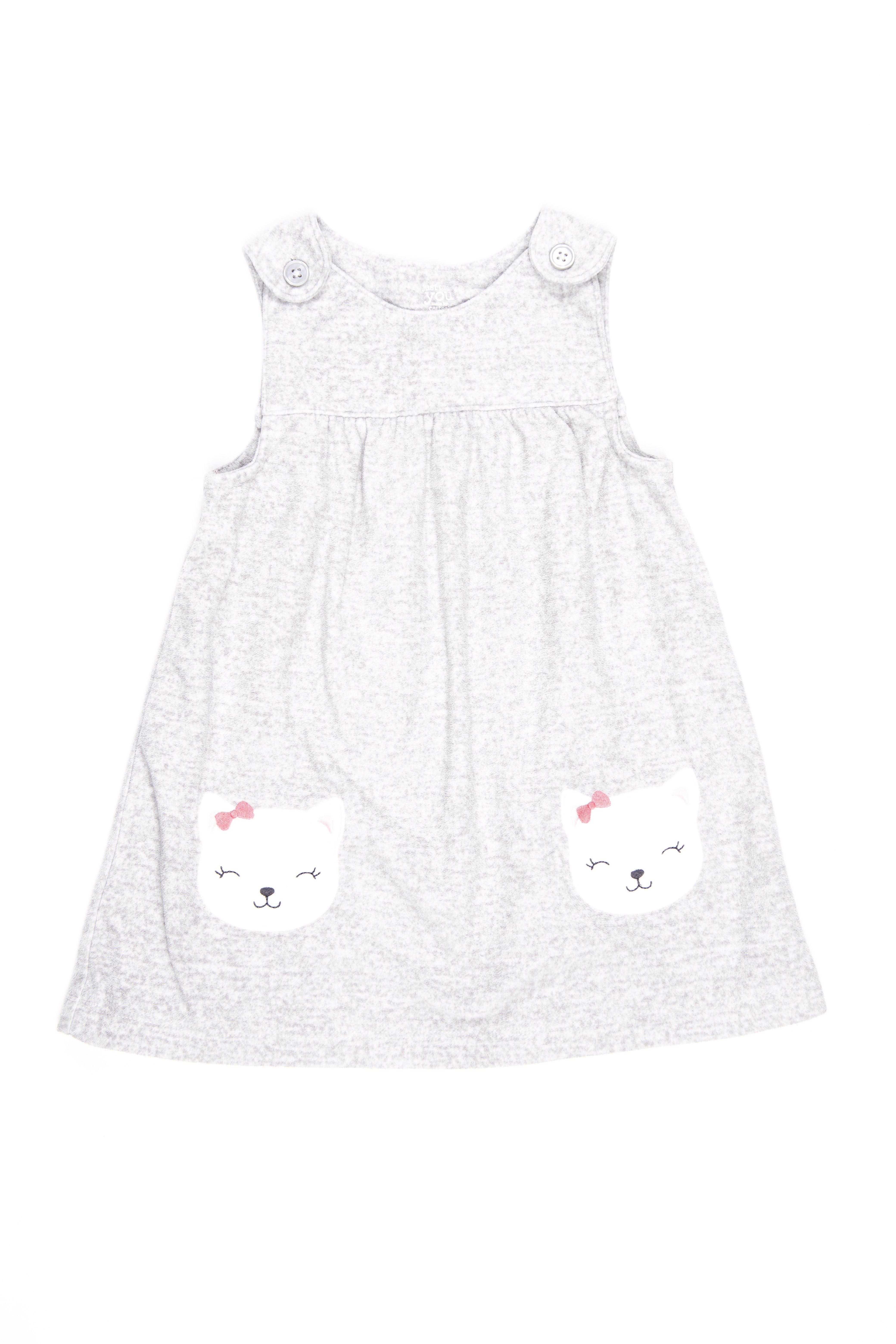 vestido plomo de polar con gatitos - carters
